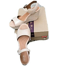 Clarks Nadana Lola h1 Women Beige Leather Espadrille Wedge Platform Sandal 9.5 M