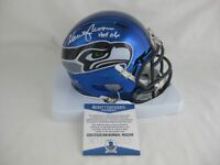 WARREN MOON signed SEATTLE SEAHAWKS Chrome Speed Mini Helmet w/HOF 06 - Beckett