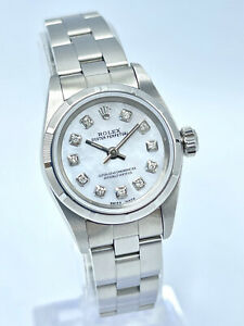 Ladies Rolex Oyster Perpetual 67230 24mm White MOP Diamond Dial Box & Papers