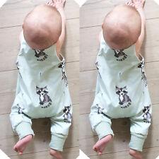 Newborn Infant Baby Boy Girls Raccoon Romper Bodysuit Jumpsuit Outfits Clothes w