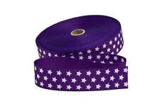 1 m Gurtband in lila mit weißen Sternen  30 mm