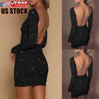 Womens Backless Sequin Bodycon Dress Ladies Evening Party Ball Gown Mini Dresses
