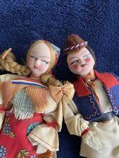 New ListingVintage Ethnic Eastern European Costume Dolls Couple Man & Woman