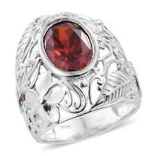 ORANGE SIMULATED ORANGE DIAMOND OPEN SCROLL COCKTAIL RING SIZE 6 LARGE BEAUTIFUL