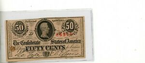 1863 Confederate States of America Fifty Cent Note April  6 1863 # 86975