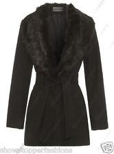 New Womens Wool Blend Winter Coat Detachable Fur Collar Belt Jacket Size 8 to 24
