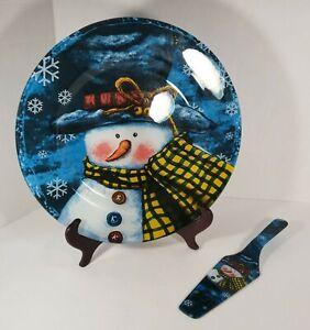 Large Glass Snowman Cake Plate And Server Winter Christmas Snowflake