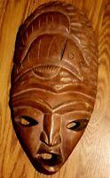 Vintage African Tribal Mask Wood Wall Art Hanging
