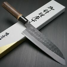 Japanese Mutsumi Hinoura Hammered White Shirogami #2 Santoku Kitchen Knife Japan