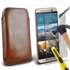 Brown PU Leather Pull Tab Case Pouch & Glass for Htc One M9