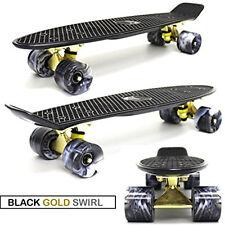 """BLACK GOLD BLACK SWIRL - 22"""" PENNY STYLE SKATE BOARD MINI RETRO PLASTIC CRUISER"""