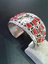 THOMAS FRANCISCO Sterl.Silver Cuff Watch Coral bracelet.Weight:98.9gr.Net:87.9gr