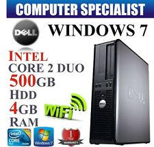 WINDOWS 7 VELOCE DELL OPTIPLEX FISSO PC COMPUTER CORE 2 Duo a 4GB RAM 500GB HDD