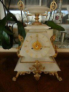 top Pendule Alabaster Marmor 1850 Paris Kaminuhr Tischuhr Uhrwerk überholt Japy