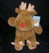"16"" VINTAGE SOFT DREAMS CHRISTMAS TAN REINDEER SLIPPERS STUFFED ANIMAL PLUSH TOY"