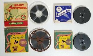 Vintage Disney (Mickey/Donald/Pluto) & Woody Woodpecker 8mm Film Lot Of 4