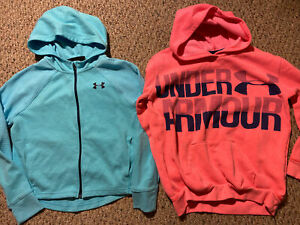 Under Armour Girl Youth M YMD Lot of 2 Hoodies 1 Full Zip Pink & Blue