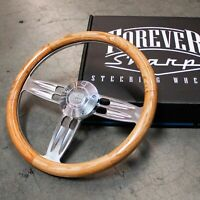 "14"" Polished Chrome Oak Wood Steering Wheel Forever Sharp Horn Button, 5 Hole"