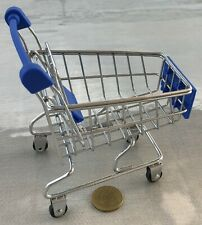 Metal & Blue Plastic Shopping Trolley Cart With A Baby Seat Tumdee Dolls House