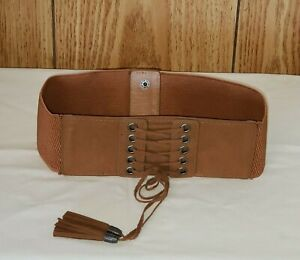 Women's Lace Up Belt Elastic Stretch Polyester Brown Faux Leather Snap Back EUC