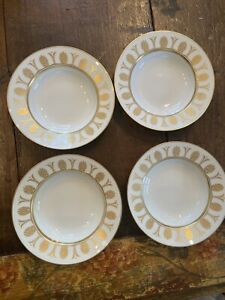 Richard Ginori Designer Italian Pompei White & Gold China Soup Bowl Set Of 4