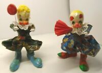 """2 Vintage Hand Painted PAPER MACHE CLOWNS with Lace collars 6"""" Tall"""