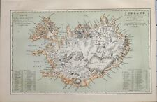 1885 MAP ICELAND TRIGON SURVEY GUNNLAUGSSON VATNA JOKULL ~ MOUNTAINS