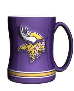 Minnesota Vikings 14 oz Team Color Sculpted Logo Relief Coffee Mug  - NEW