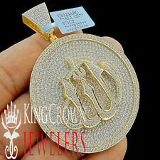 Real Yellow Gold Sterling Silver Lab Diamond Allah God Pendant Medallion 2.75''