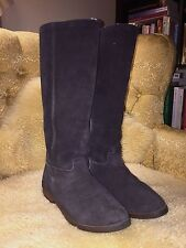 LL BEAN Knee High Tall Riding Boots Made In England Black Suede Shearling 5.5