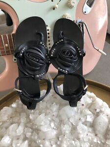 Giuseppe Zanotti Black Leather Rose Silver Studs Rock & Roll Sandals~8 1/2B EUC