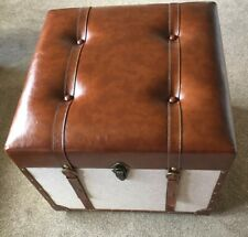 LUXURY LEATHER STOOL SEAT TRUNK CHEST STORAGE - SHOWPIECE - HOME - BROWN  / New