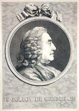 """Eau Forte de CLAUDE WATELET,  """"Joliot de Crebillon"""", d'aps COCHIN,  XVIIème"""