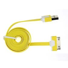 Yellow Flat USB Cable for iPhone 4S 4 3GS iPad 2 3 Data Sync Charge Lead Wire