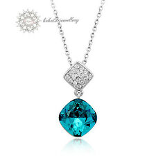 Crystal Pendant Necklace/Rose gold/Rn017S Cushion Cut Ocean Blue