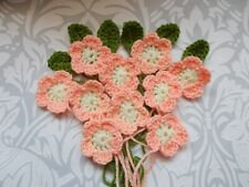 10  Hand Crochet Peach Flowers With 6 Lime Green Leaves