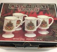 Pfaltzgraff Heritage Christmas Tree 3 Footed Pedestal Mugs 1 coffee mug in box