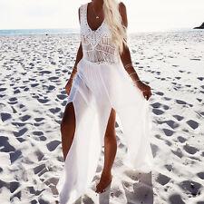 Elegant Women's White Crochet Chiffon Cut Out Slit Maxi Boho Beach Long Dress