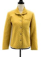Talbots Womens Quilted Jacket Golden Yellow Mustard Petite Snaps Corduroy Trim