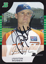 JUSTIN HUBER KANSAS CITY ROYALS SIGNED CARD MINNESOTA TWINS SAN DIEGO PADRES