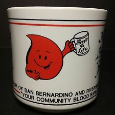 "Vintage Styled ""Here's To Life..."" Blood Bank Donor Mug - Red Happy Face Drop"