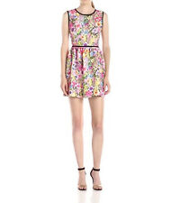 2556 Black Halo Womens Multi Floral Print Marina Sleeveless Mini Dress Sz 8 $390