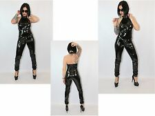 SEXY BLACK  PVC SLEEVELESS CATSUIT WITH EYELETS  6-30 UK New With Tags