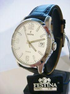 New FESTINA Men's Watch Steel Black Leather F16982/1