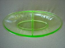 Vaseline Uranium Depression Glass Green Divided Bowl  Candy Dish