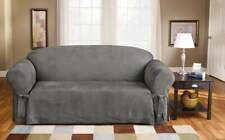 Sure Fit Soft Suede  BOX Cushion - SOFA Slipcover - GRAY