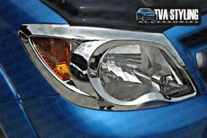 CHROME FRONT HEAD LIGHT SURROUNDS COVERS TRIM TO FIT TOYOTA HILUX VIGO 2005-08