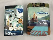Disney Moana 4 piece Full Sheet Set with Plush Throw New