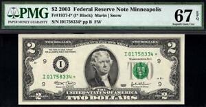 2003* $2 Minneapolis STAR Federal Reserve Note FRN 1937-I* • PMG 67 EPQ