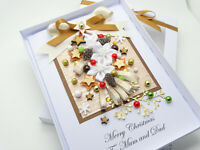 HANDMADE Christmas CARD Personalised CONES Wife Mum PARENTS, Auntie 3D Gift Box